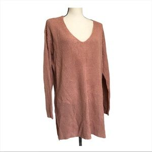 Ambiance Apparel VNeck Open Back Knit Sweater 1X